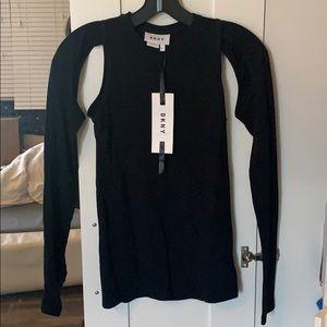 DKNY Black Cutout Raglan Sleeve Blouse